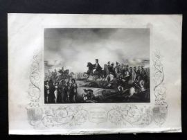 Tallis (Pub) 1854 Antique Military Print. Wellington and his Staff at Waterloo